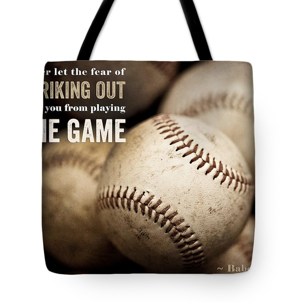 Baseball Art Featuring Babe Ruth Quotation Tote Bag by Lisa Russo