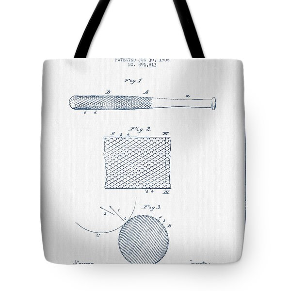 Baseball Bat Patent Drawing From 1904 - Blue Ink Tote Bag by Aged Pixel