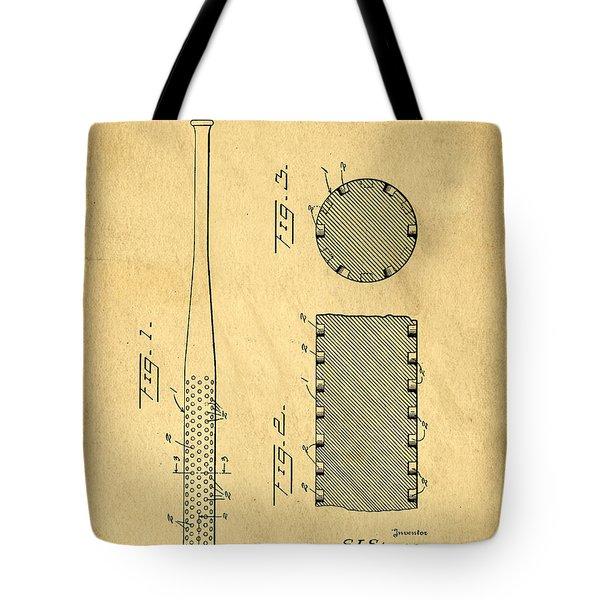 Baseball Bat Patent Tote Bag by Edward Fielding