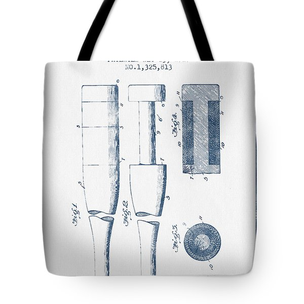 Baseball Bat Patent From 1919 - Blue Ink Tote Bag by Aged Pixel