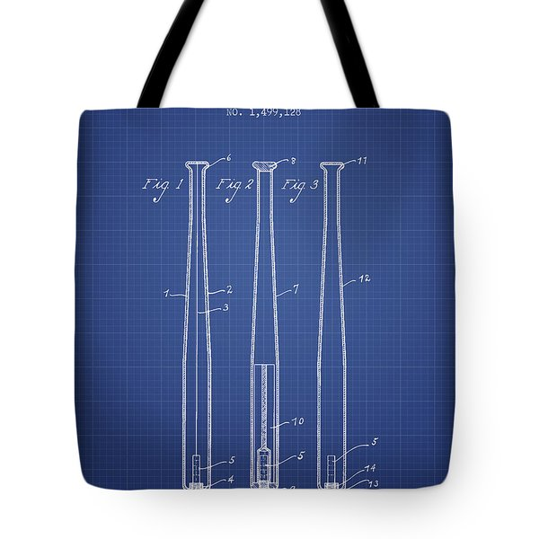 Baseball Bat Patent From 1924 - Blueprint Tote Bag by Aged Pixel