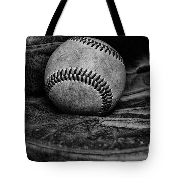 Baseball Broken In Black And White Tote Bag by Paul Ward