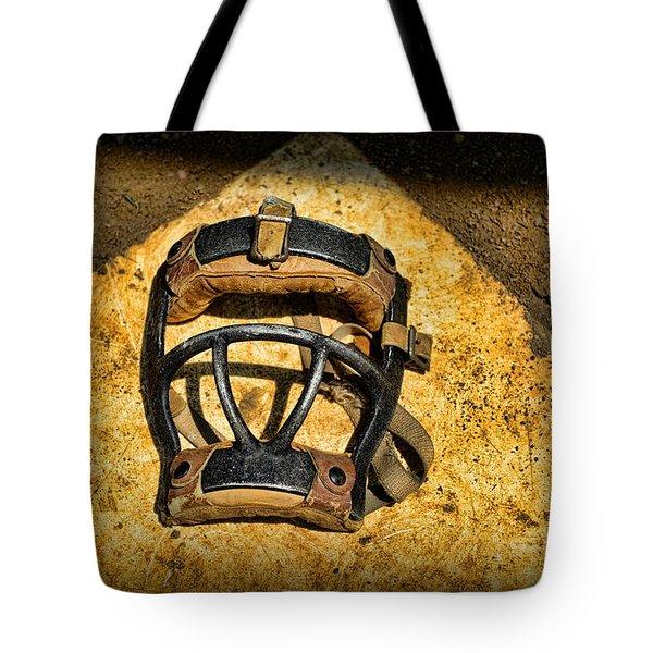 Baseball Catchers Mask Vintage  Tote Bag by Paul Ward