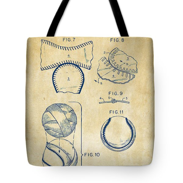 Baseball Construction Patent 2 - Vintage Tote Bag by Nikki Marie Smith
