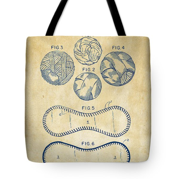 Baseball Construction Patent - Vintage Tote Bag by Nikki Marie Smith
