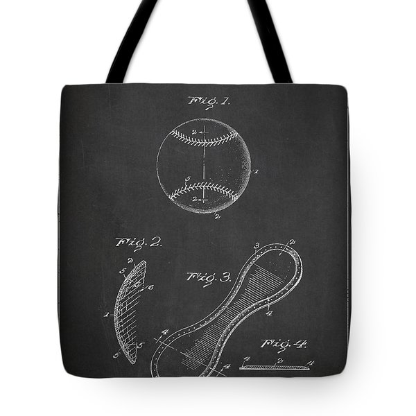 Baseball Cover Patent Drawing From 1923 Tote Bag by Aged Pixel
