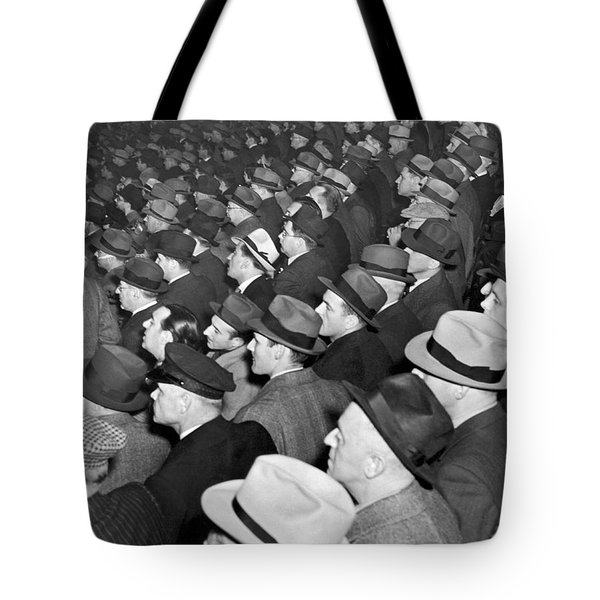 Baseball Fans At Yankee Stadium For The Third Game Of The World Tote Bag by Underwood Archives