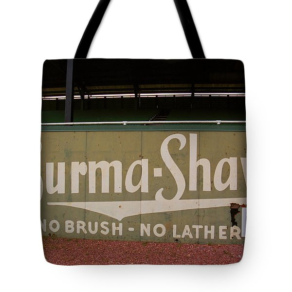 Baseball Field Burma Shave Sign Tote Bag by Frank Romeo