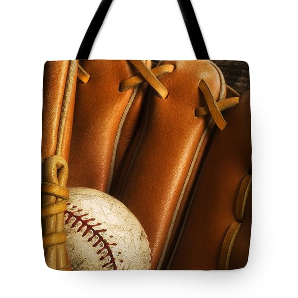 Baseball Glove And Baseball Tote Bag by Chris Knorr