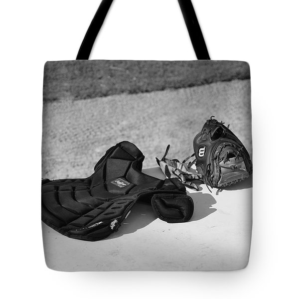 Baseball Glove And Chest Protector Tote Bag by Frank Romeo