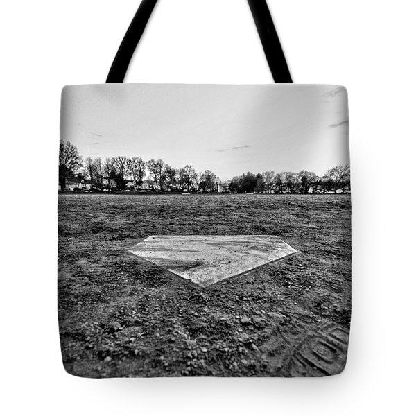 Baseball - Home Plate - Black and White Tote Bag by Paul Ward