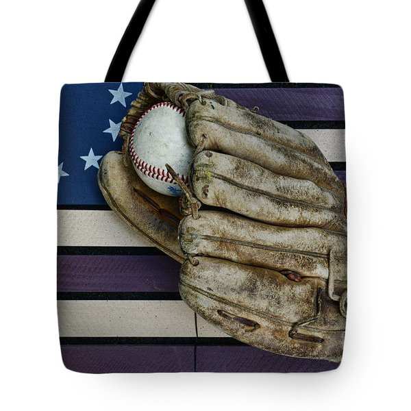 Baseball Mitt On American Flag Folk Art Tote Bag by Paul Ward