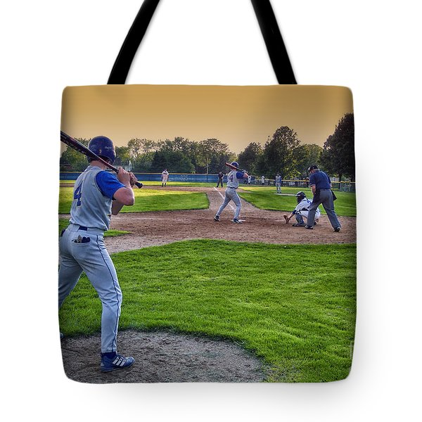 Baseball On Deck Circle Tote Bag by Thomas Woolworth