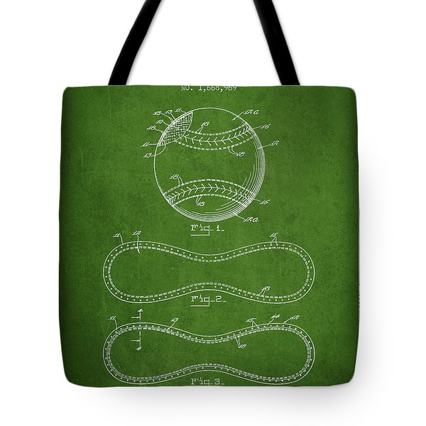 Baseball Patent Drawing From 1928 Tote Bag by Aged Pixel