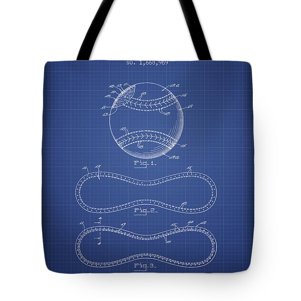 Baseball Patent From 1928 - Blueprint Tote Bag by Aged Pixel