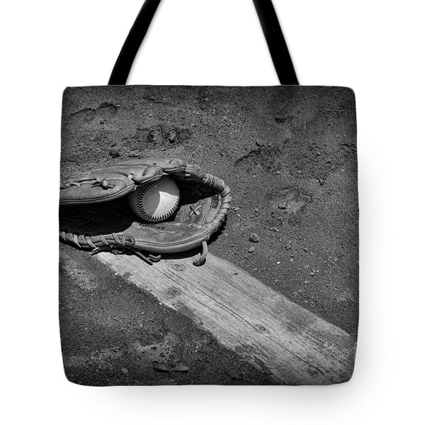 Baseball Pitchers Mound In Black And White Tote Bag by Paul Ward