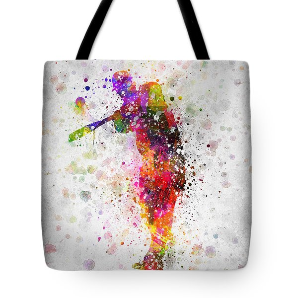 Baseball Player - Taking A Swing Tote Bag by Aged Pixel