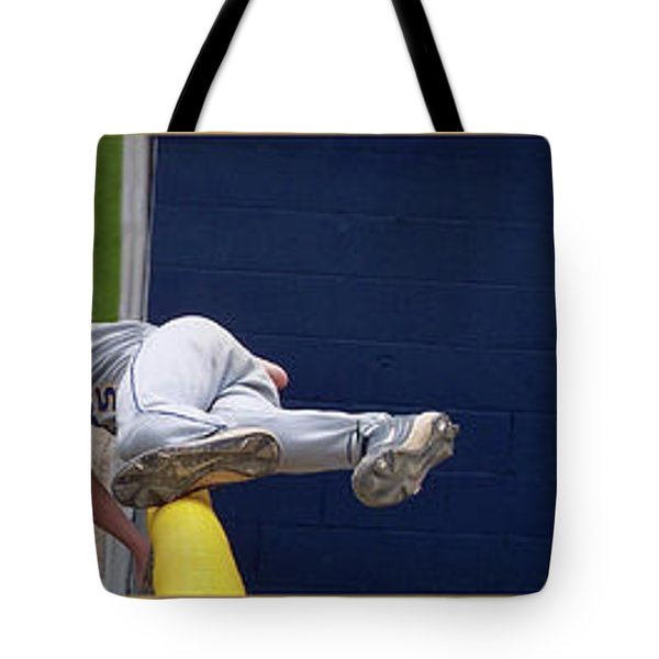 Baseball Playing Hard 3 Panel Composite 02 Tote Bag by Thomas Woolworth