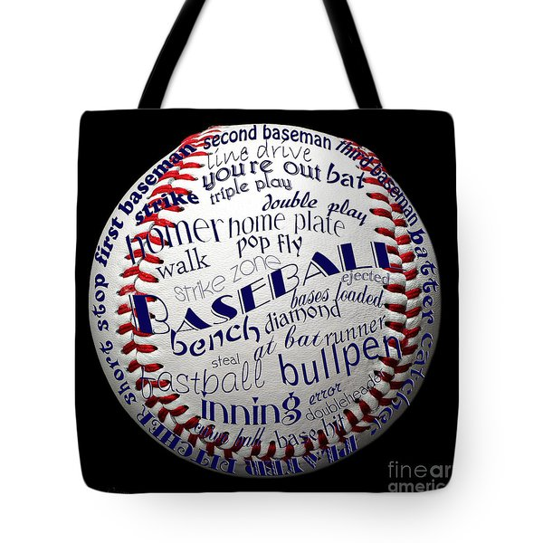 Baseball Terms Typography 1 Tote Bag by Andee Design