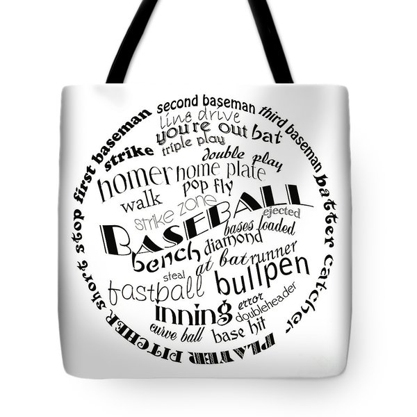 Baseball Terms Typography Black And White Tote Bag by Andee Design
