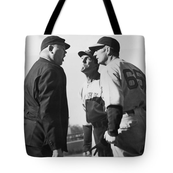 Baseball Umpire Dispute Tote Bag by Underwood Archives
