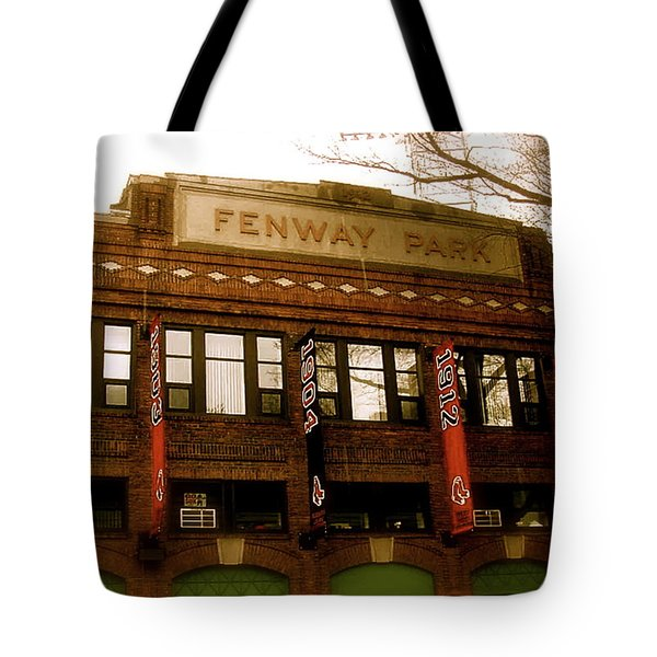 Baseballs Classic  V Bostons Fenway Park Tote Bag by Iconic Images Art Gallery David Pucciarelli