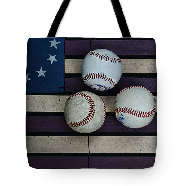 Baseballs on American Flag Folkart Tote Bag by Paul Ward