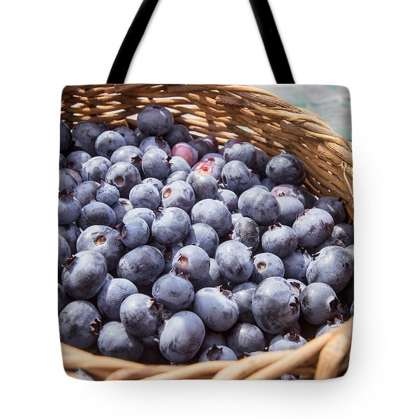 Basket Of Fresh Picked Blueberries Tote Bag by Edward Fielding