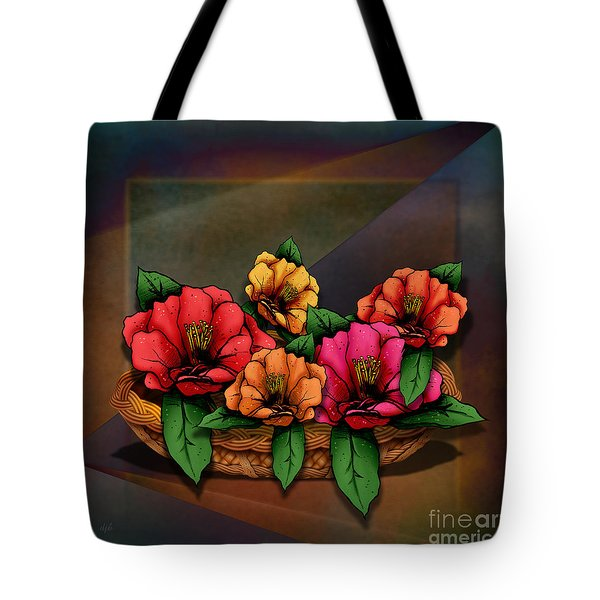 Basket Of Hibiscus Flowers Tote Bag by Bedros Awak