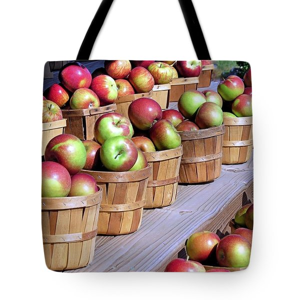 Baskets Of Apples Tote Bag by Janice Drew