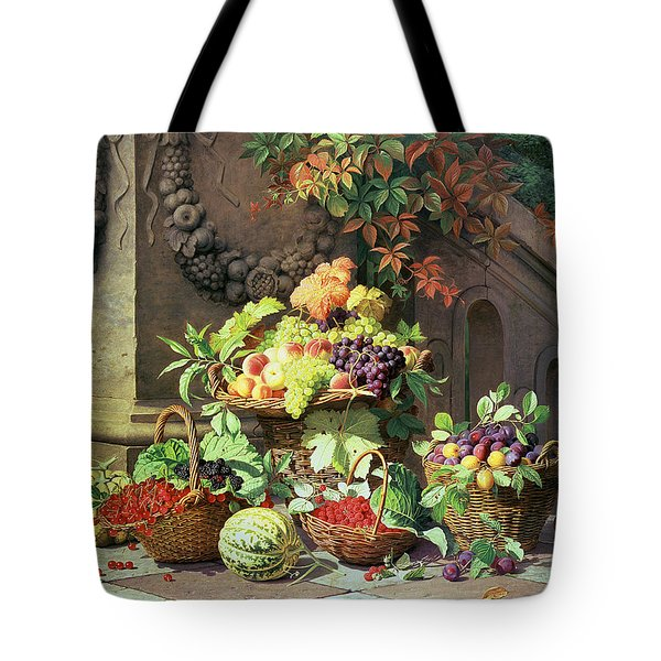 Baskets Of Summer Fruits Tote Bag by William Hammer