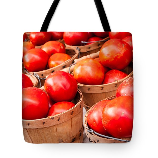 Baskets of Tomatoes at a Farmers Market Tote Bag by Teri Virbickis