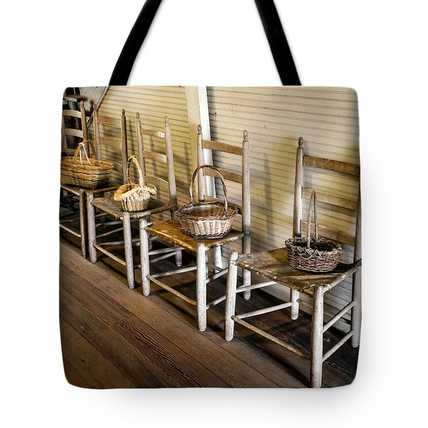 Baskets On Ladder Back Chairs Tote Bag by Lynn Palmer