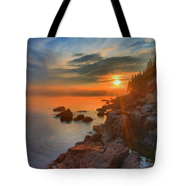 Bass Harbor Sunset Tote Bag by Adam Jewell
