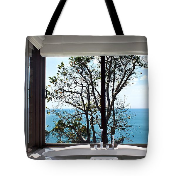 Bathroom With A View Tote Bag by Kaye Menner