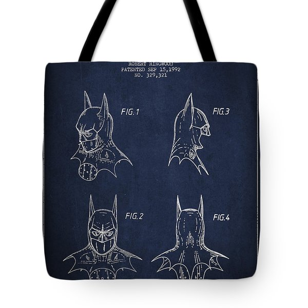 Batman Head Dress Patent Drawing Tote Bag by Aged Pixel