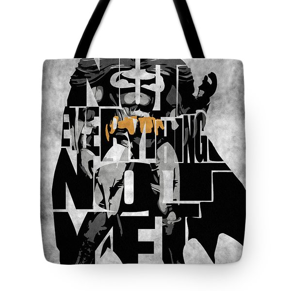 Batman Inspired Typography Poster Tote Bag by Ayse Deniz