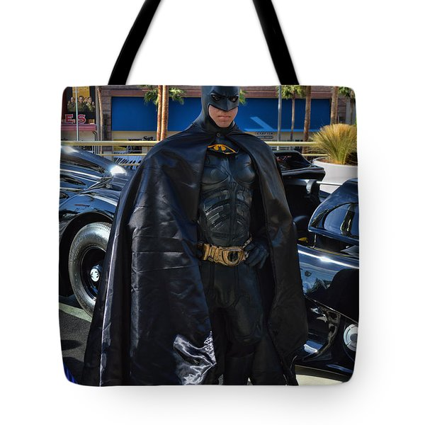 Batmobile and Batman Tote Bag by Tommy Anderson