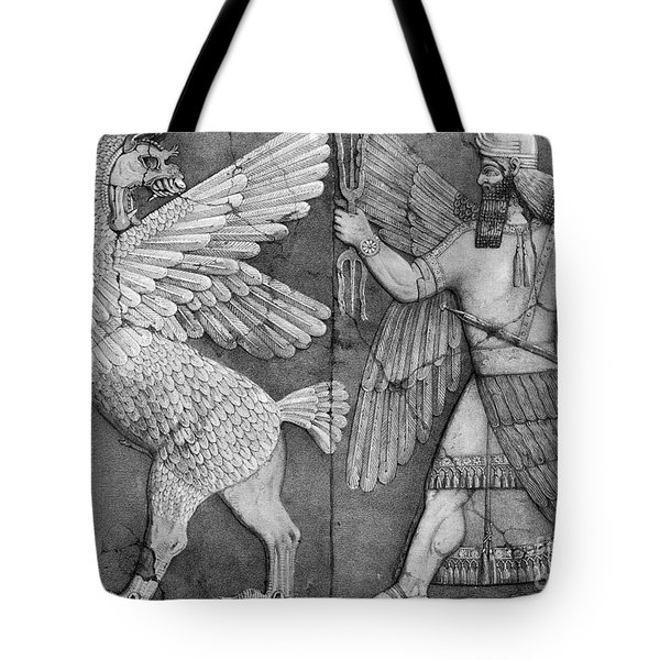 Battle Between Marduk And Zu Tote Bag by Photo Researchers