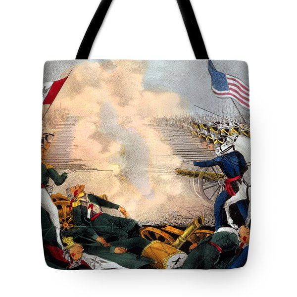 Battle Of Buena Vista Mexican-american Tote Bag by Photo Researchers