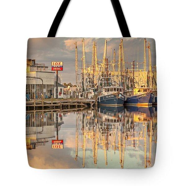 Bayou La Batre' Al Shrimp Boat Reflections 39 Tote Bag by Jay Blackburn