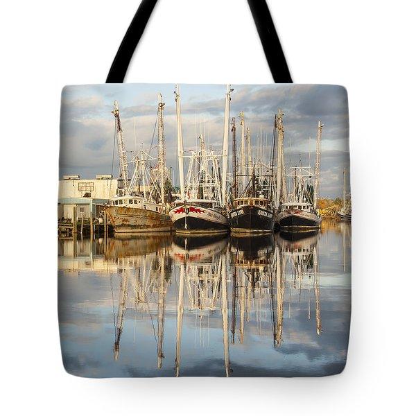 Bayou Labatre' Shrimp Boat Reflections 22 Tote Bag by Jay Blackburn