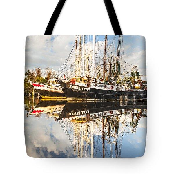 Bayou Labatre' Shrimp Boat Reflections 35 Tote Bag by Jay Blackburn
