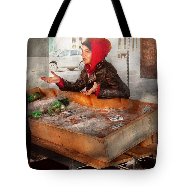 Bazaar - I sell fish  Tote Bag by Mike Savad