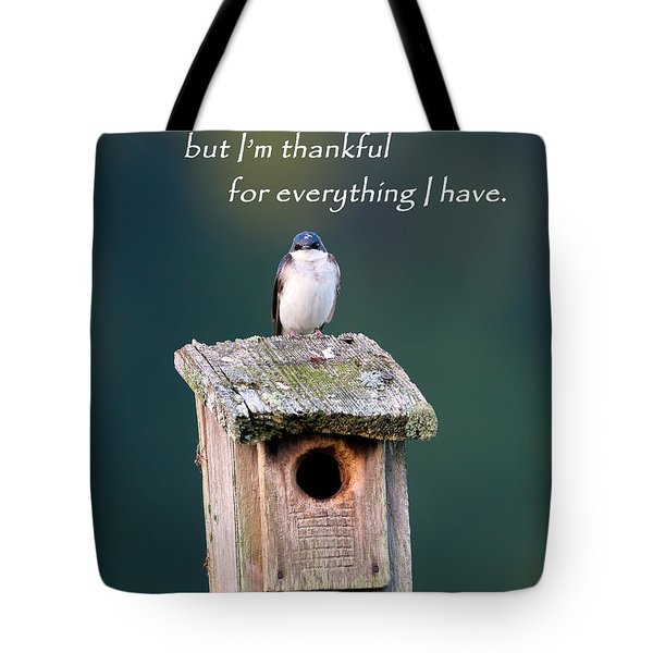 Be Thankful Tote Bag by Bill Wakeley