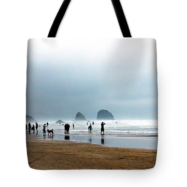 Beach Fun at Ecola  Tote Bag by Robert Bales