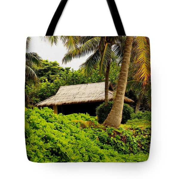 Beach Hut Painting Tote Bag by Cheryl Young