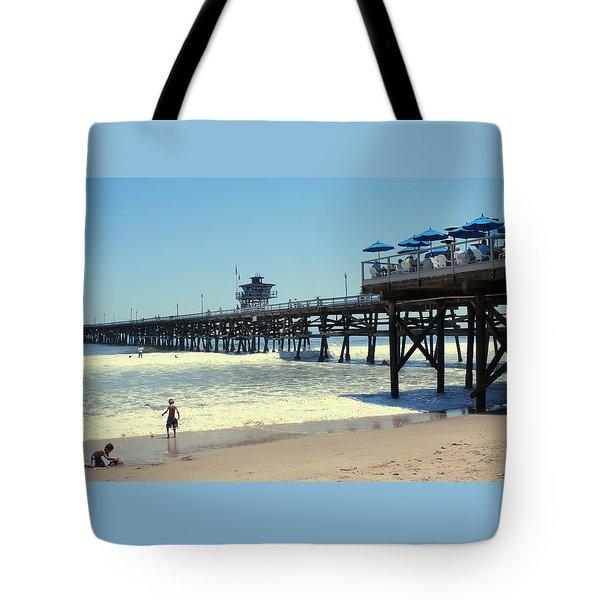 Beach View With Pier 1 Tote Bag by Ben and Raisa Gertsberg