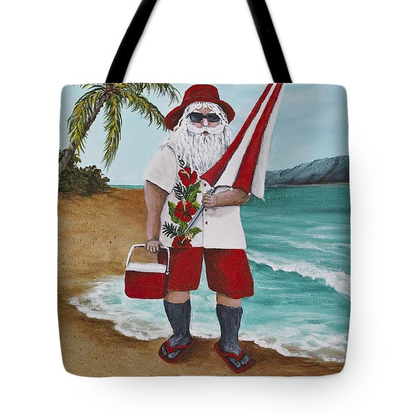 Beachen Santa Tote Bag by Darice Machel McGuire