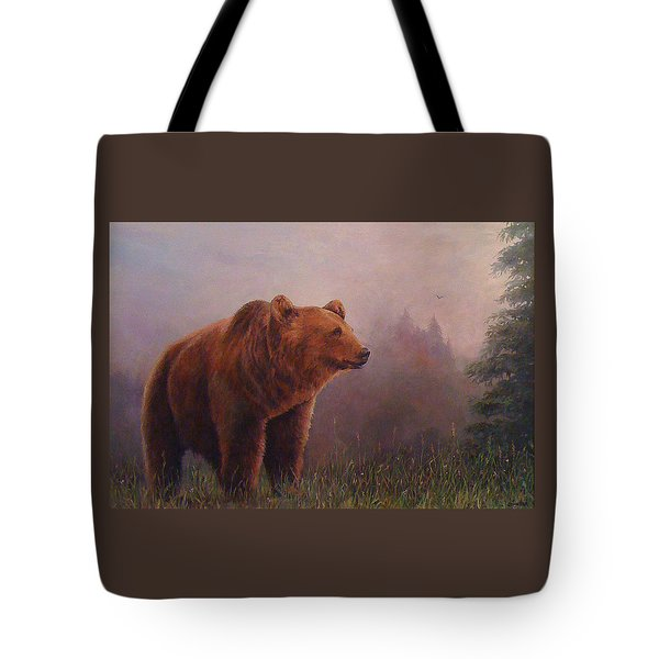 Bear In The Mist Tote Bag by Donna Tucker